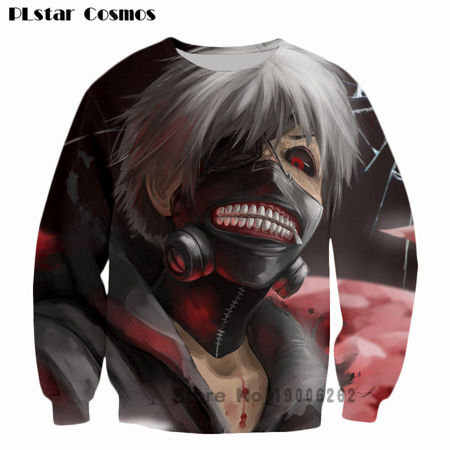 Tokyo Ghoul Crewneck Sweatshirt Ken Kaneki 3d Print Sweats funny Clothing Outfits Jumper casual Tops plus size 5XL Drop shipping