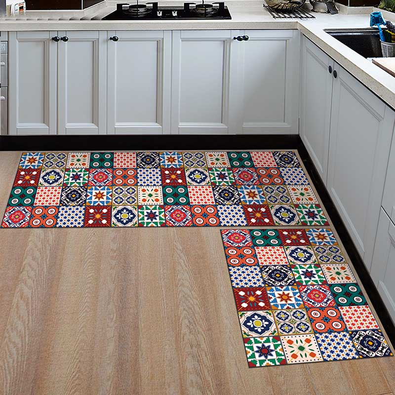 2PCS Kitchen Mats Made With Polyester Material for Modern Kitchen Balcony and Hallway Floor 12