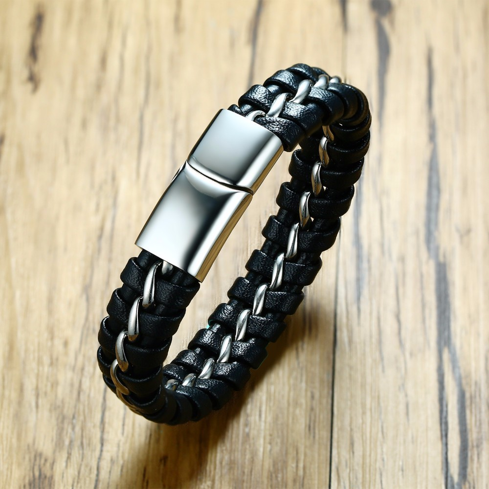 Mens Black Braided Leather Bracelet Interwoven with Silver Tone Stainless Steel Weaving Bangle Magnetic Buckle for Male Jewelry ...