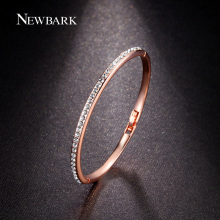 NEWBARK Rose Gold And Silver Color Love bracelets & bangles For Women Clear Or Multicolor CZ Paved Half Eternity Bangle Jewelry