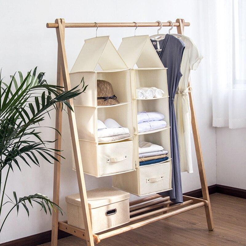 Многослойная подвесная сумка для хранения шкаф ящик Тип Органайзер коробка новый хлопок и лен складной ящик для хранения одежды
