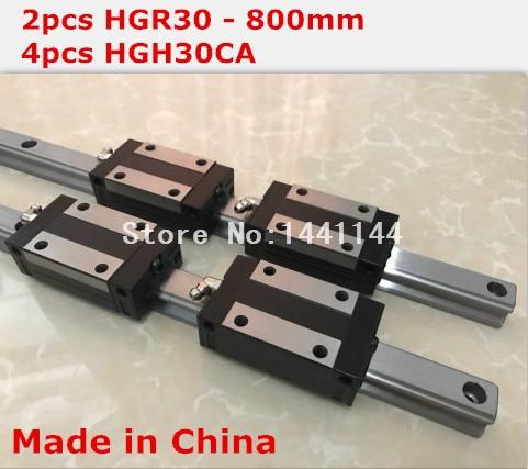 HGR30 linear guide: 2pcs - 800mm + 4pcs HGH30CA block carriage CNC parts
