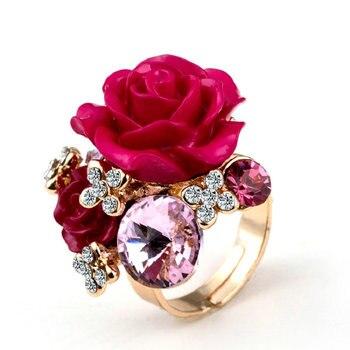 Anillos de boda ajustables en Color dorado con flores rosas de cristal de resina, 7 colores, novedad