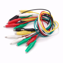 DIY test cable folder hook clip 10pcs 5colore 30cm length double-ended alligator clips jumper wire mini
