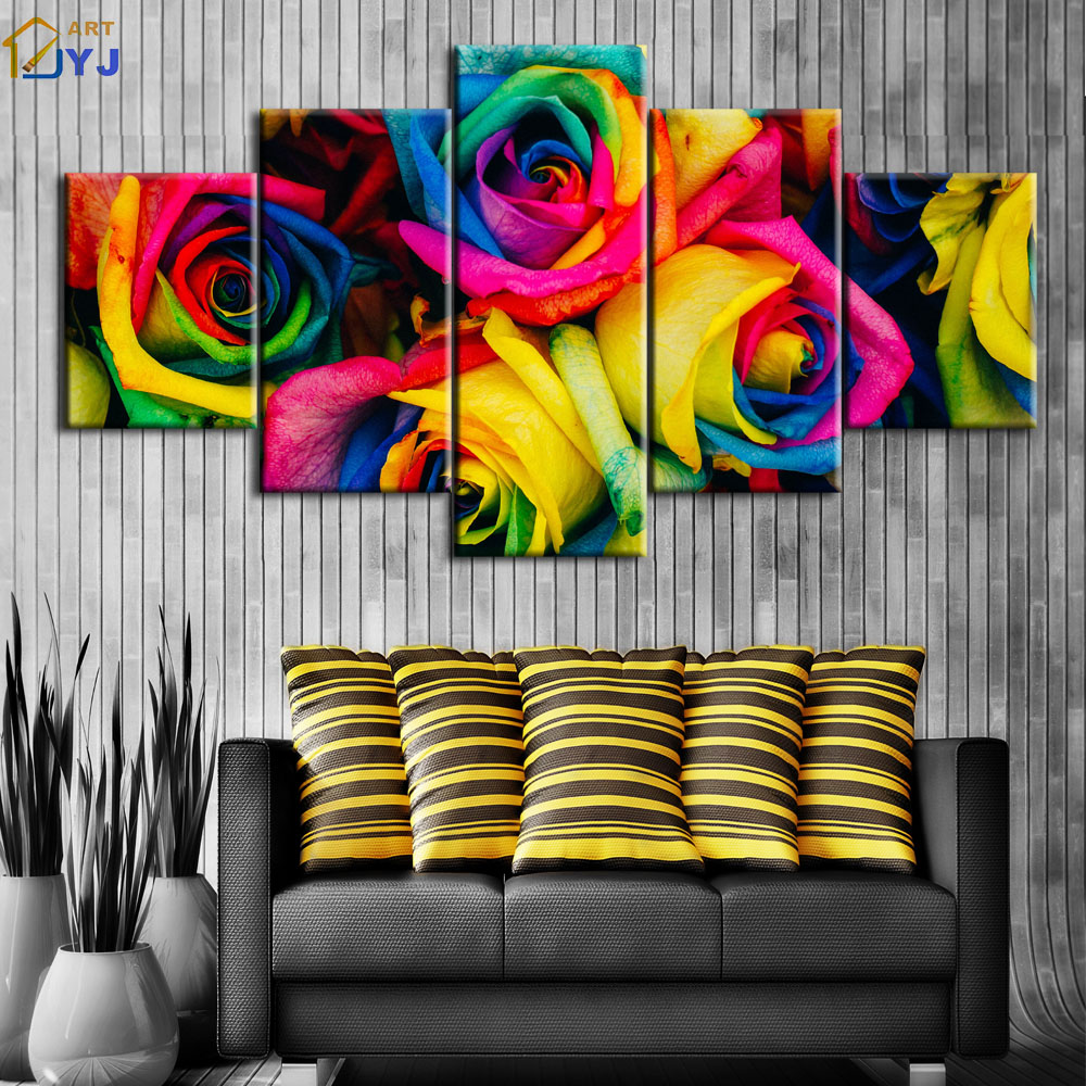 Aliexpress Buy 5Pcs Vivid Color Flower Rose Picture Wall Art Gift For Living Room Decoration HD Print Oil Painting On Canvas No Framed PT0045 From