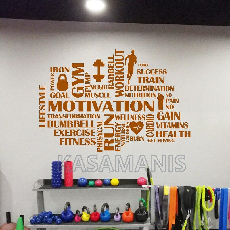 Gym Motivational Words Art Wall Decal Gym Decor