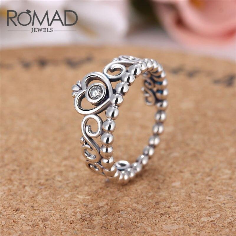Romad 2018 принцесса Queen Корона кольцо Обручение с AAA Ясно CZ подлинный посеребренные Цвет принцессы на свадьбу кольцо R4