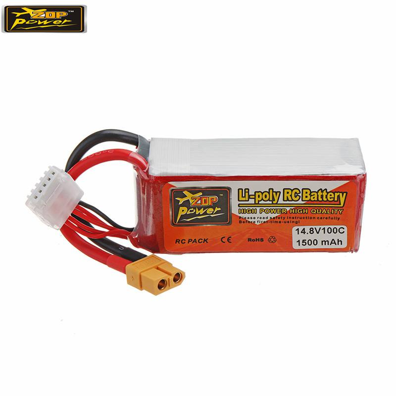 2PCS ZOP POWER 14.8V <font><b>1500mAH</b></font> <font><b>100C</b></font> <font><b>4S</b></font> Rechargeable <font><b>Lipo</b></font> Battery With XT60 Plug For RC Models RC FPV Racing Drone image