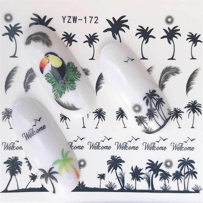 Yzwle наклейки для ногтей летние якори стиль переводные наклейки черные перья листья наклейки для ногтей
