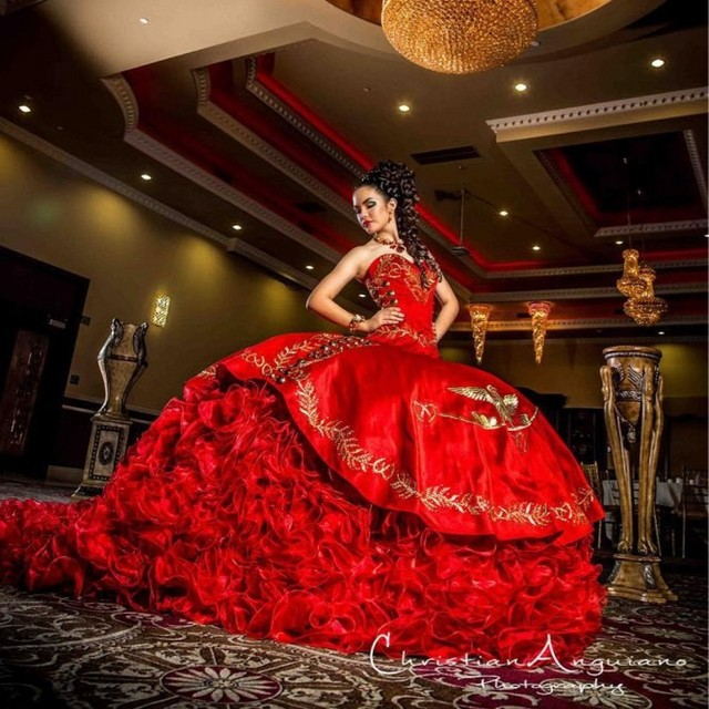 16845257089 Palace Sweetheart Red Quinceanera Dresses Delicate Gold Embroidery Peplum  Organza Ball Gown Masquerade Gowns