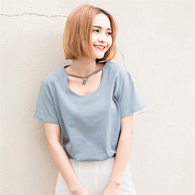 Women's Necklace T Shirt New Hollowed Round Neck Ladies Short Sleeve Tassel Loose Cotton T-shirt 2016 Summer Women Clothes 03206