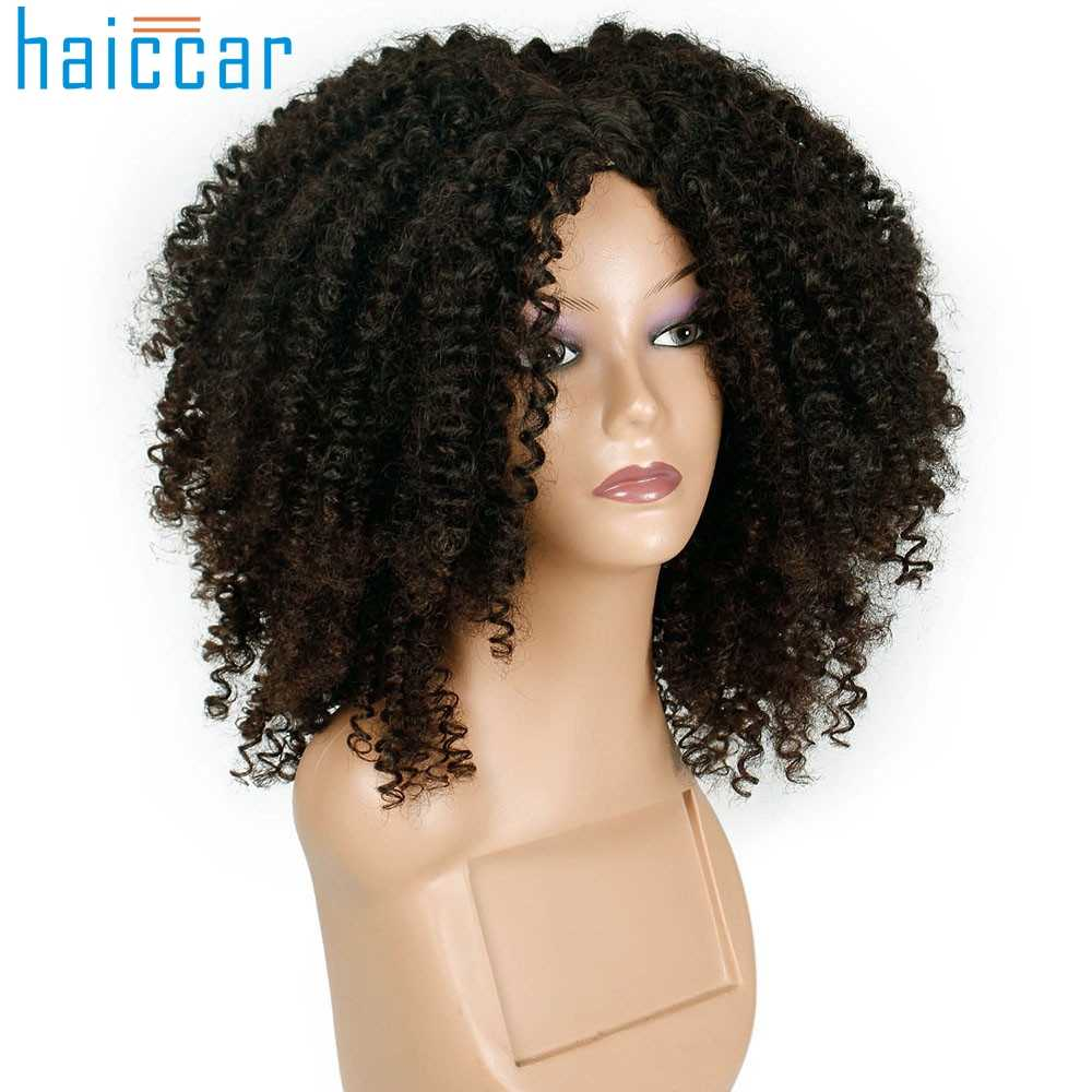 Detail Feedback Questions about Fashion wig Curly Human Hair Wigs Brown  Synthetic Curly Wigs for Women Short Afro Wig African American Natural  oct26 on ... 4bbd2796a