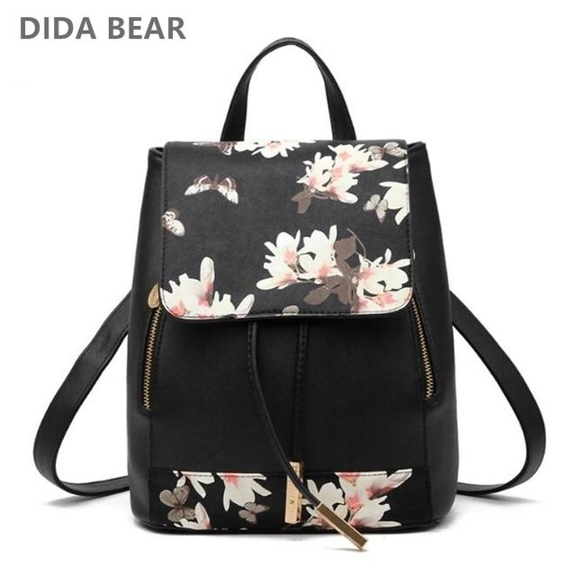 DIDA BEAR Women PU Leather Backpacks Rucksack Schoolbags For Girls Teenagers Bagpack Flower Feather Mochila Feminina Sac A Dos