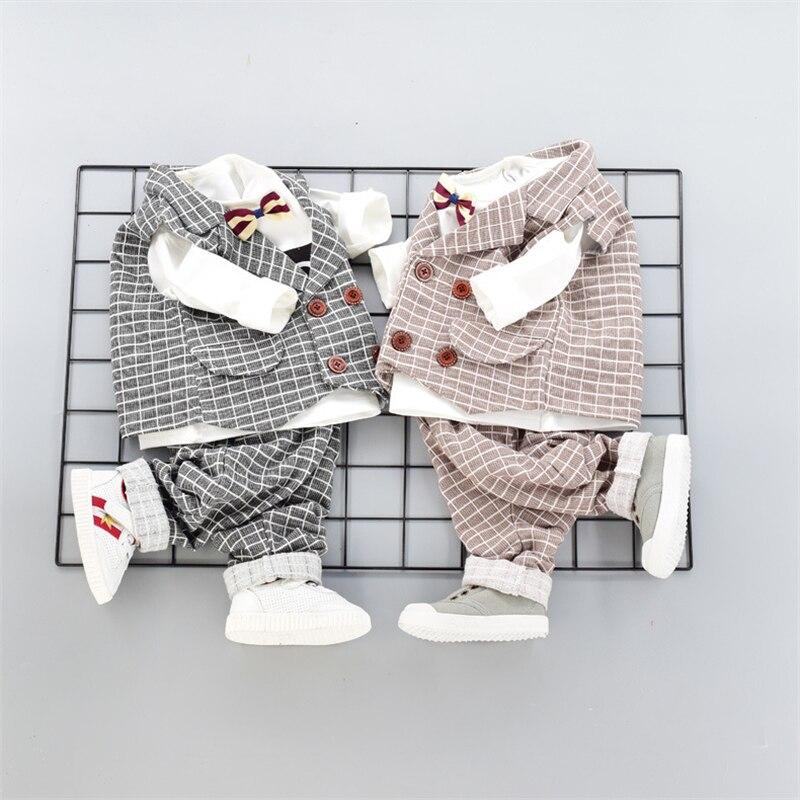 Baby Boys Wedding Formal Suits 3pcs Gentlemen Clothing Set White Bowknot Shirt+England Plaid Vest+pants Party Clothes Suit цены онлайн