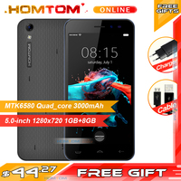 Homtom HT16 MTK6580 Quad Core Smartphone 1GB RAM 8GB ROM Mobile Phone 5MP Camera Android 6.0 Cell phone