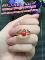 In vendita sconto ragazze regalo regalo di compleanno mamma reale argento sterling 925 natural corallo rosso anello uovo surfce 6.5mm