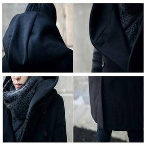 Image 5 - Erkek kış vintage uzun hırka 2018 erkek yün ve karışımları kapüşonlu ceket erkekler manteau homme streetwear Kewlstyle asya boyutu TR07