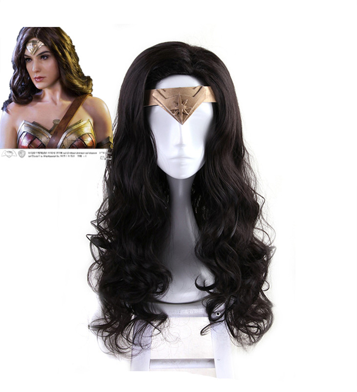 2017 New Movie Wonder Woman Black Wavy Wig Diana Prince Cosplay Wig Gal Gadot Role Play wig with hair net free shipping cosplay hair wig v miku markkaa black double horsetail cosplay wig 042b hot sale