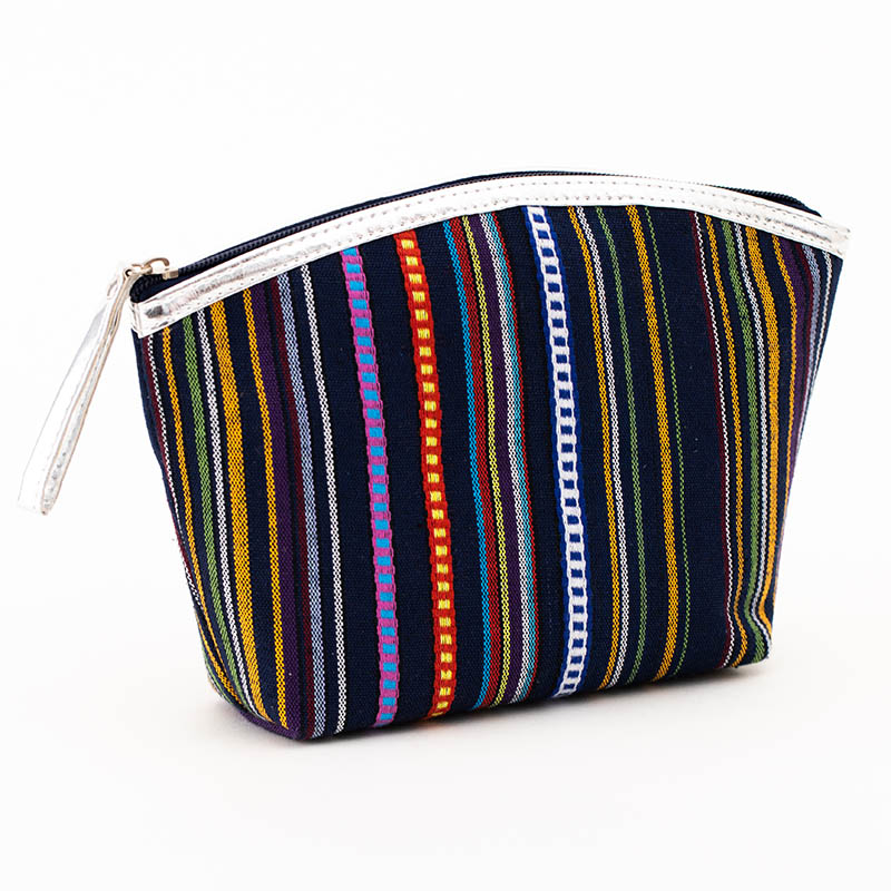 GABWE New Vintage Women Cosmetic Case Cotton Striped Retro Makeup Bag Beauty Organizer Travel Pouch Necessarie Toiletry Wash Bag