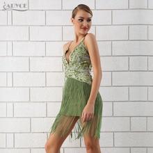 Adyce 2018 Summer Luxury Bandage Dress Sexy Sequins Tassel Fringe MiniSpaghetti Strap Celebrity Evening Party Dresses Vestidos