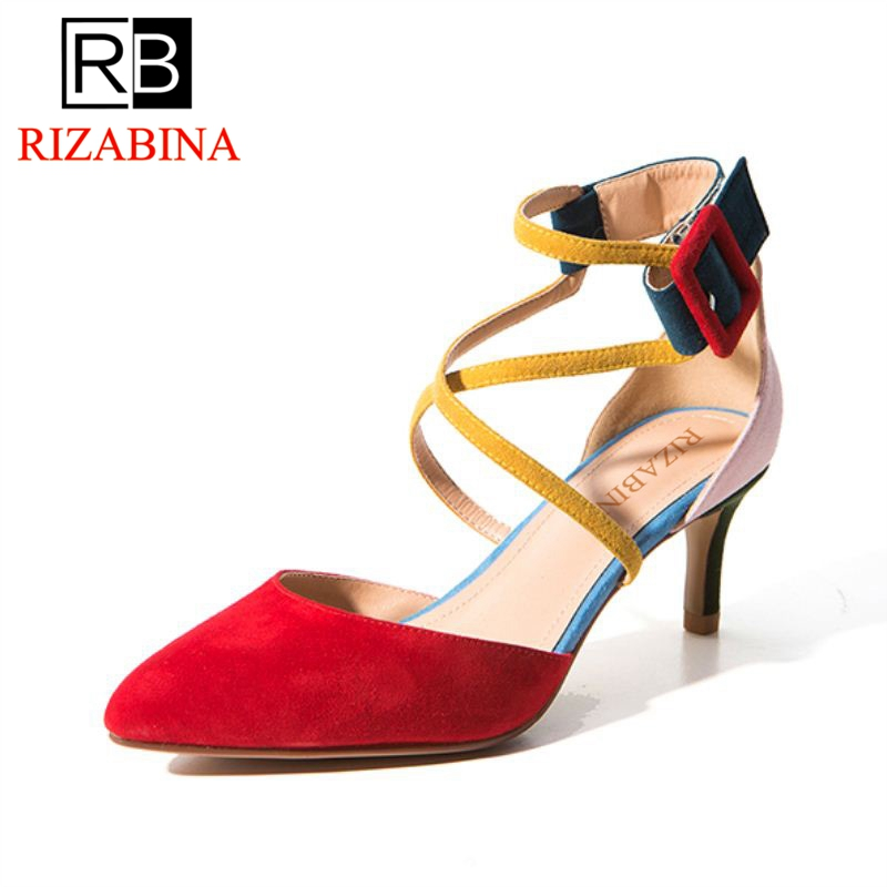 RizaBina Women High Heel Sandals Real Leather Buckle Mixied Color Women Sandals Sexy Fashion Party Dress Footwear Size 33-40 taoffen women high heel sandals buckle open toe mixed color genuine leather ladies shoes sexy sandals party footwear size 33 40