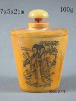Ücretsiz nakliye Eski Çin Inek Kemik El işçiliği oyma Güzellik Kadın Snuff Şişe