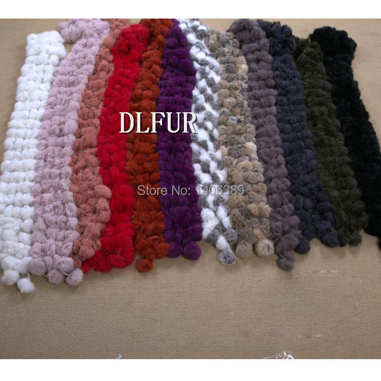 DL6052  Free Shipping Cheap Rabbit Fur Scarf For Women Natural Rabbit Fur Ball Scarves Women Winter Warm Scarf