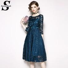 7f6928ad8 SunnyYeah más cordón del tamaño vestido elegante mujeres otoño Vestidos  Casual ropa negro rojo Midi partido vestido femenino Ves.