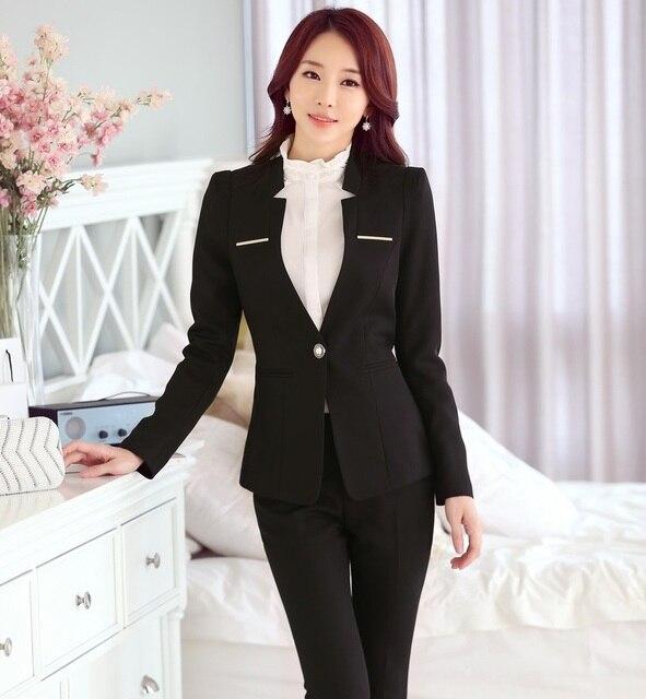 Negocio Trajes de Trabajo profesional Con Chaquetas Y Pantalones Trajes Formal de La Manera Delgada Femenina Pantalones Conjuntos Trajes Blazers