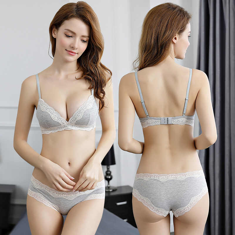 dc5d87c0842c OranriTing New Lace Sexy Lingerie Set Underwear Women Seamless Cotton Bra  And Panties Sleeping Brassiere Soft