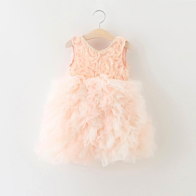 2016 Summer New Girl Princess Dress Rose Flower Tiered Dress Backless Fluffy Dress Children Clothing