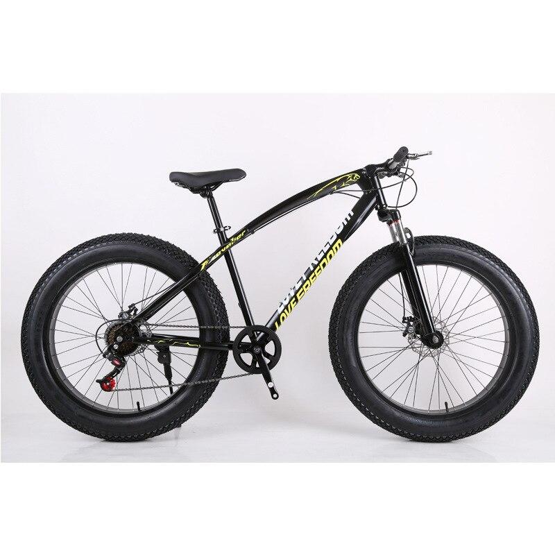 Black Mech Mountain Bike Snow Bike 27 Speed Dual Disc Brake Wide Cross Cross Country Bike