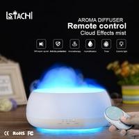 LSTACHi 500ml Air Humidifier Remote Control Ocean Mist Wood Grain Aroma Diffuser Night Light Oil Diffuser