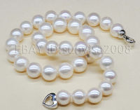fast s321 woman's gift AAA White 8 9mm Akoya Genuine Pearl Necklace 17 AAA
