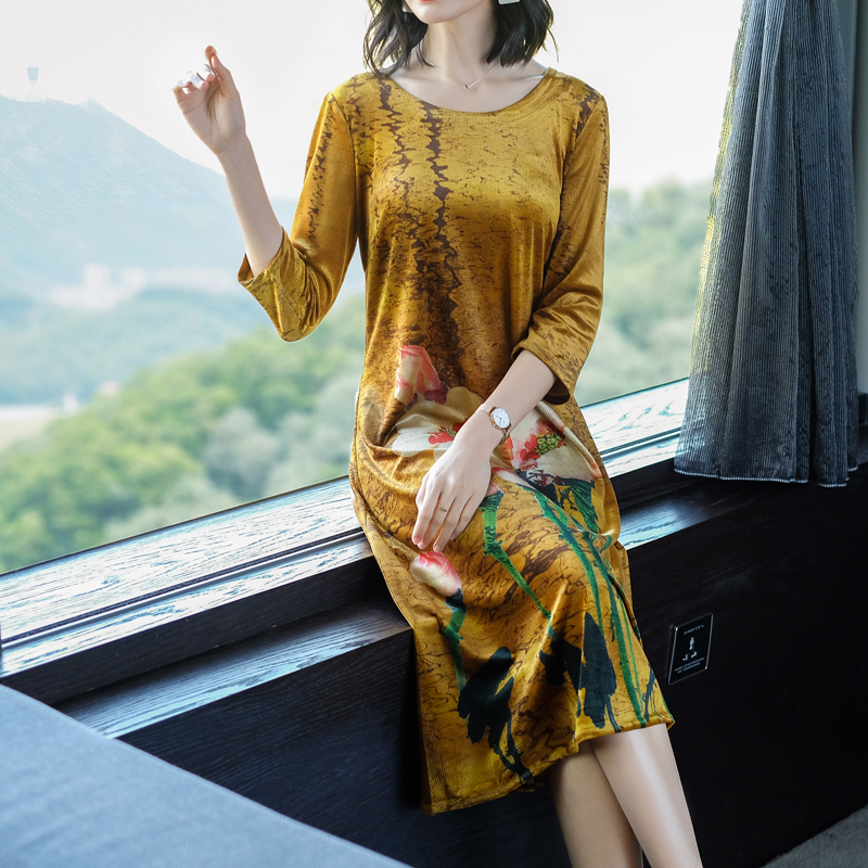 Yellow women t shirt dress clothes long sleeve plus size large 4xl big elegant Chinese vintage robe dresses print floral midi in Dresses from Women 39 s Clothing