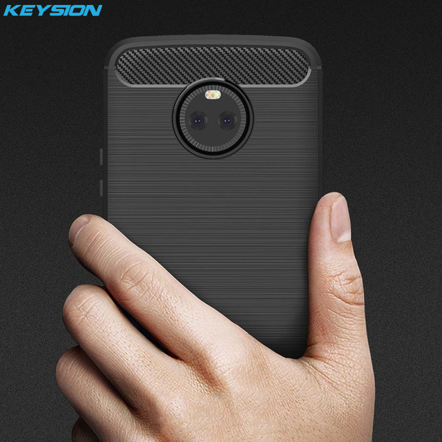 KEYSION Case for Lenovo MOTO X4 5.2 inch Carbon Fibre Brushed soft TPU Silicone Cover for Motorola MOTO X4 Phone bags