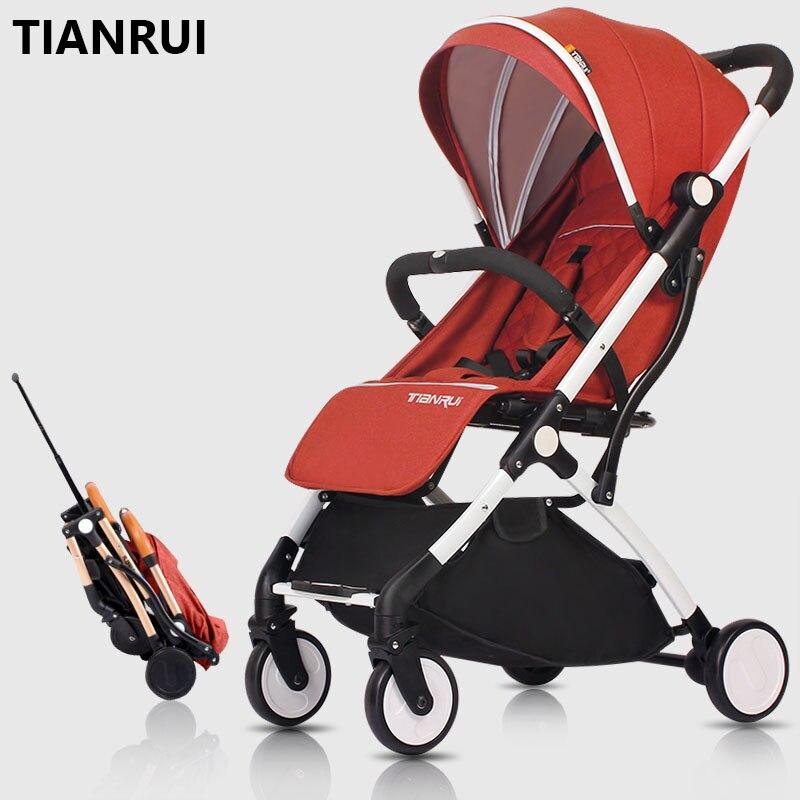 TIANRUI детская коляска высокий пейзаж легкая может сидеть и лежать складывается рама из алюминиевого сплава колеса EVA доставка в россию беспл...