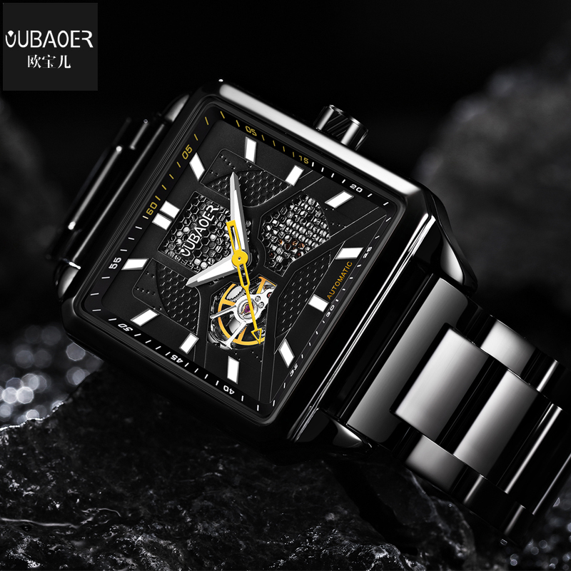 Oubaoer Automatic Mechanical Watch Men Luxury Brand Black Skeleton Watch Business Watches Male Rectangle Stainless Steel Watch business sports military stainless steel watch top luxury brand winner black watch men casual male automatic mechanical watches
