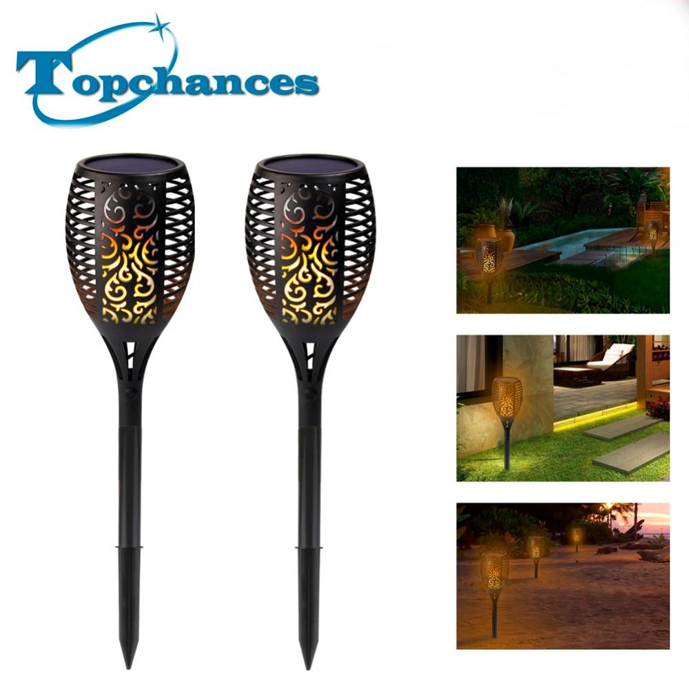 2PCS High Quality Solar Torch Garden Lights 96 LED Flickering landscape Lamp Dancing Flame