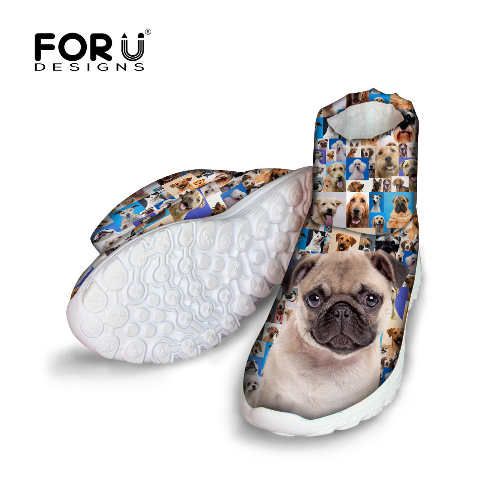 ФОТО Preppy style cute french bulldog print women winter boots soft plush ankle warm snow boots for ladies waterproof platform boots