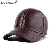 LA SPEZIA Genuine Leather Baseball Cap Retro Men Brown Peaked Caps Male Vintage Adjustable Autumn Winter Classic Snapback Hats