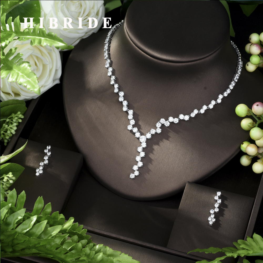 HIBRIDE Exquisite Jewelry Sets for Women Wedding Party Jewelry Accessories Cubic Zircon Stud Earrings & Necklace Gift N-959HIBRIDE Exquisite Jewelry Sets for Women Wedding Party Jewelry Accessories Cubic Zircon Stud Earrings & Necklace Gift N-959