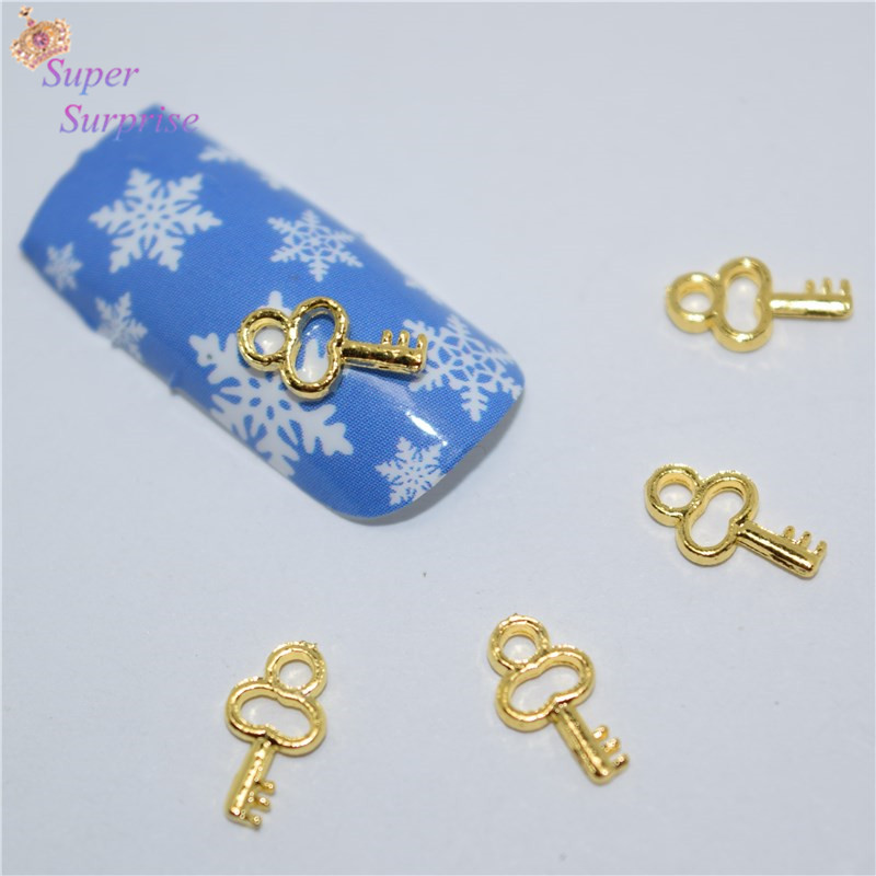 50Pcs new Golden key nail stickers, 3D Metal Alloy Nail Art Decoration/Charms/Studs,Nails 3d Jewelry H015