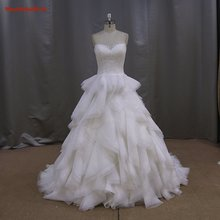 2016 High Quality Elegant A-Line Sweetheart  Lace Tulle Off the Shoulder Ruched Sleeve Bridal Gown  YIYI Wedding Dress WD0035