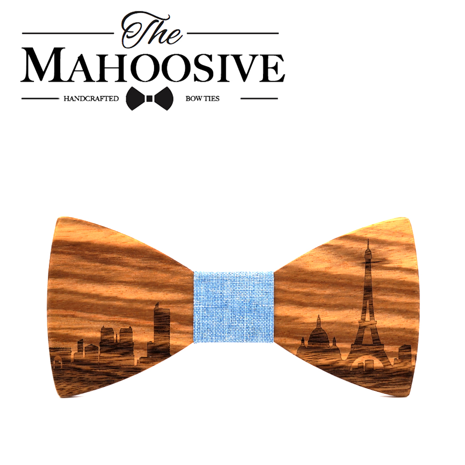 MAHOOSIVE Wooden Bow Tie Gravata Pairs City Skyline Wedding Groom Gift Butterfly For Men's Suit Shirt Necktie Jewerly Accessory