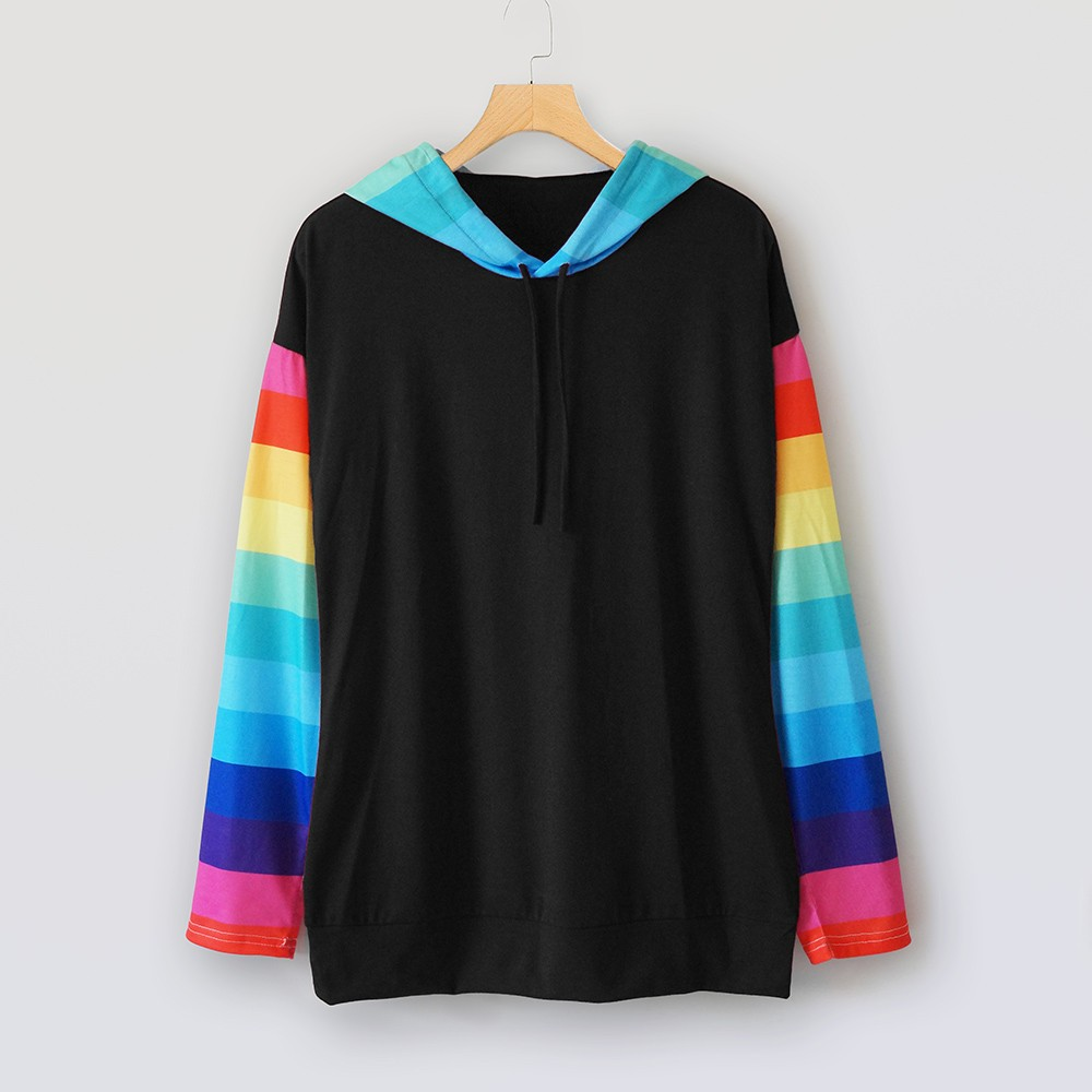 Fashion hoodie women's long sleeve sweatshirts hooded color block stripe  casual pullover women clothes lady outwear tops