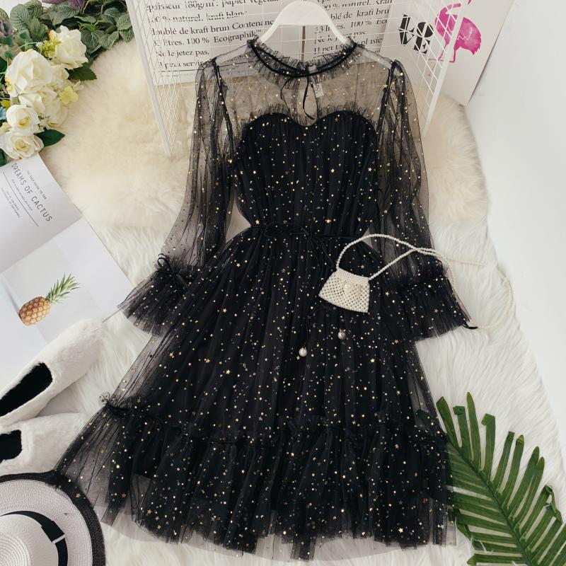 HISUMA Spring Autumn New Women Star Sequins Gauze Flare Sleeve Lace-up Princess Dress Female Elegant O-neck Mesh Puff Dresses