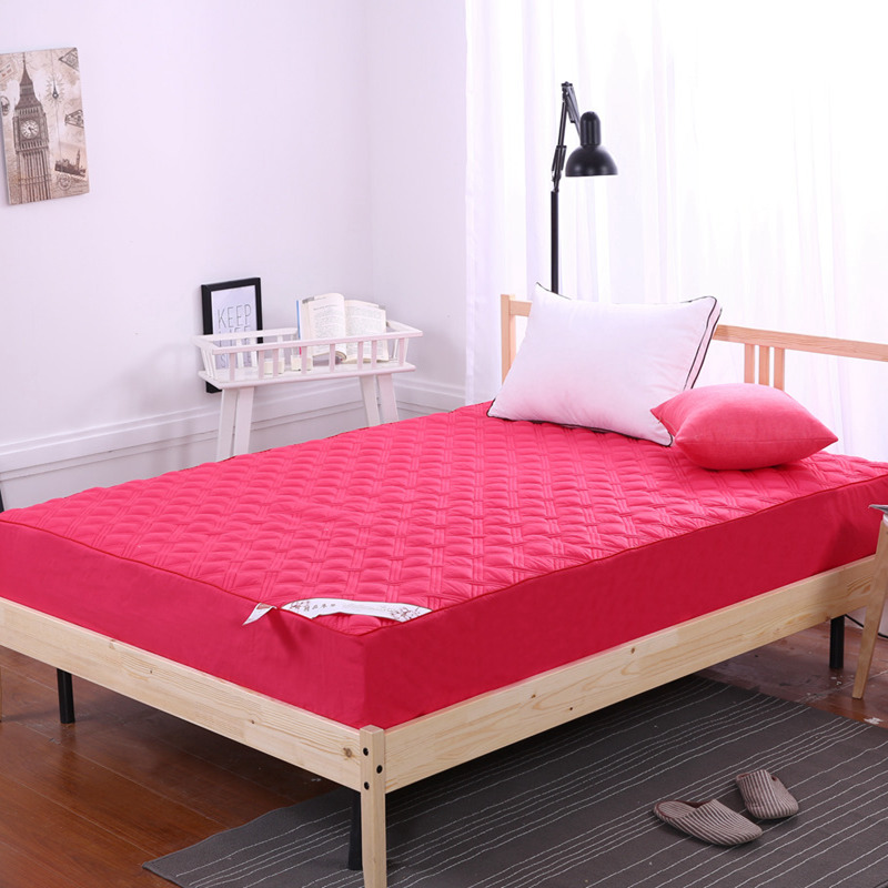 TUTUBIRD-Solid 100% cotton quilted Mattress Protection mat Pad Bed cover red purple white brief style protective sheet cushion