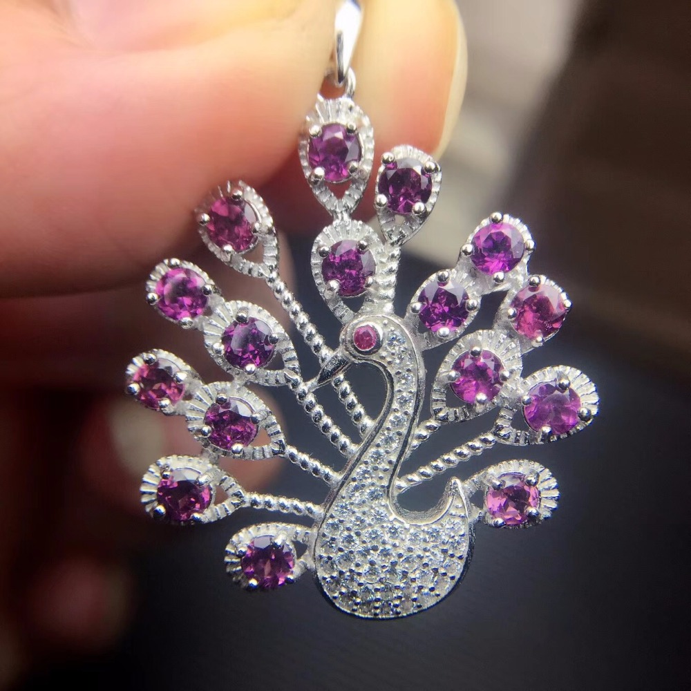 Uloveido Natural Garnet Peacock Necklace for Women 925 Sterling Silver 3 3mm 16 Pcs Gemstone Birthstone