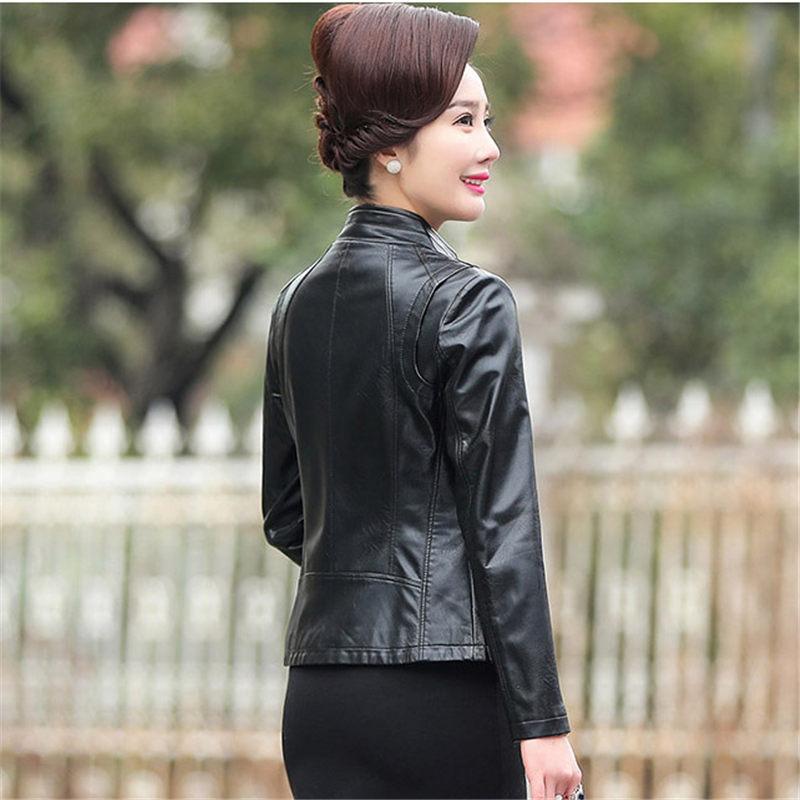 ผู้หญิงหนังแจ็คเก็ต Plus ขนาดเสื้อแจ็คเก็ต 2019 ใหม่ Faux หนังแจ็คเก็ตผู้หญิงฤดูใบไม้ร่วงซิป Slim Coat M 5XL f485-ใน หนังและหนังกลับชนิดนิ่ม จาก เสื้อผ้าสตรี บน   2
